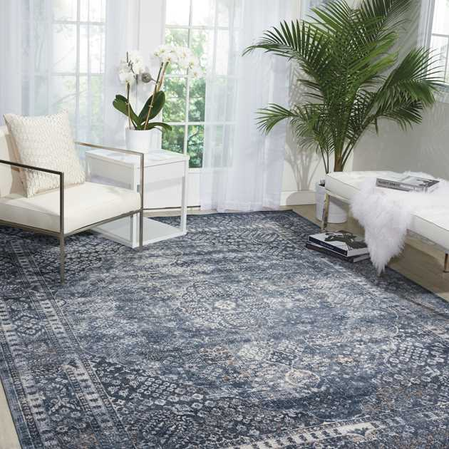 Malta Rugs MAI01 by Kathy Ireland in Navy