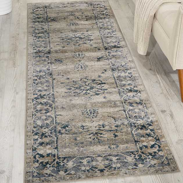 Malta Hallway Runners MAI05 by Kathy Ireland in Ivory and Blue