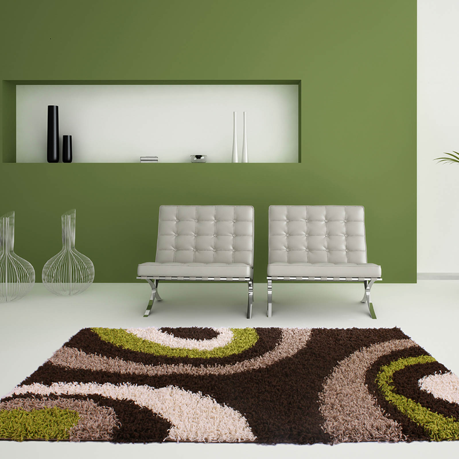 Mont Blanc Rugs MB13 in Chocolate Green