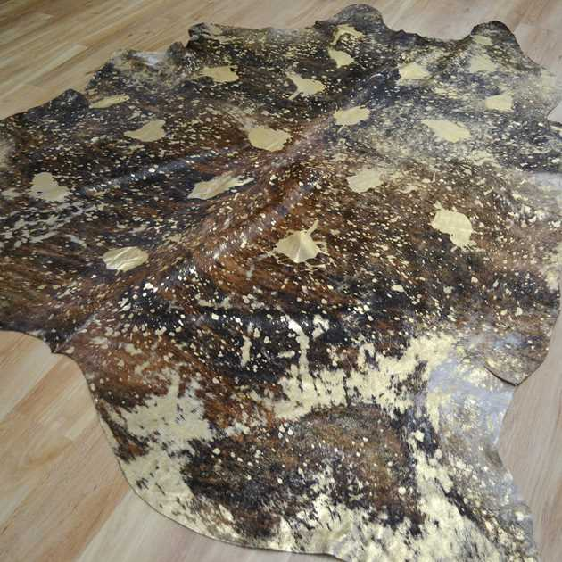 Metallic Cowhide Rugs MER051701 in Gold and Brown