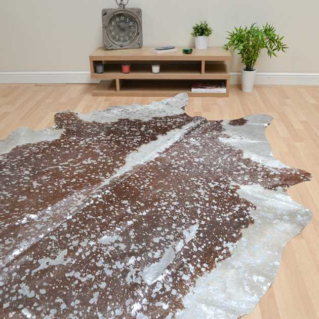 Metallic Cowhide Rugs in Brown and Silver MER69