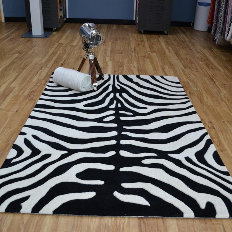 Masai Zebra Print Wool Rugs In Black And White Buy Online