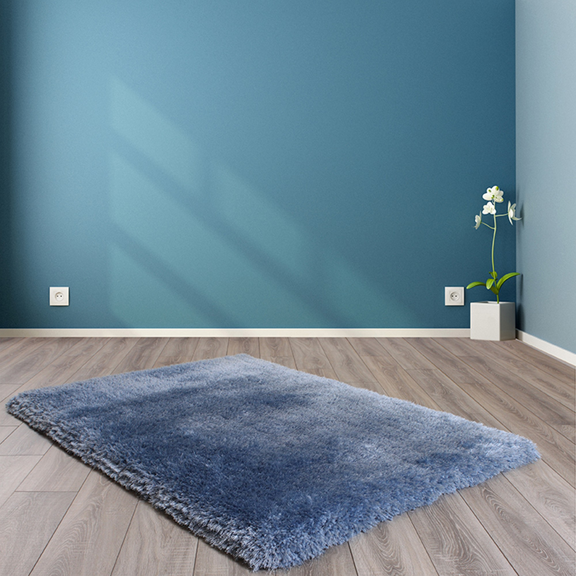 Mayfair Shaggy Rugs in Blue