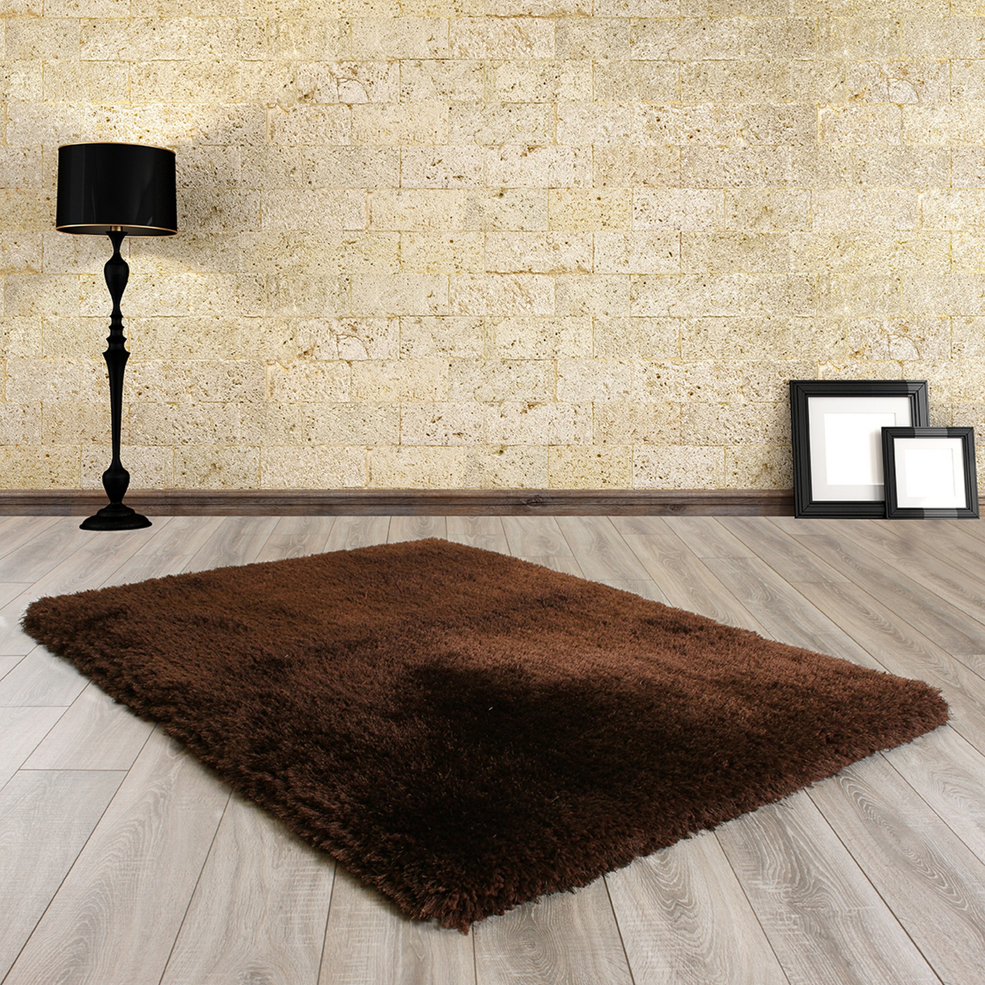 Mayfair Shaggy Rugs in Chocolate Brown