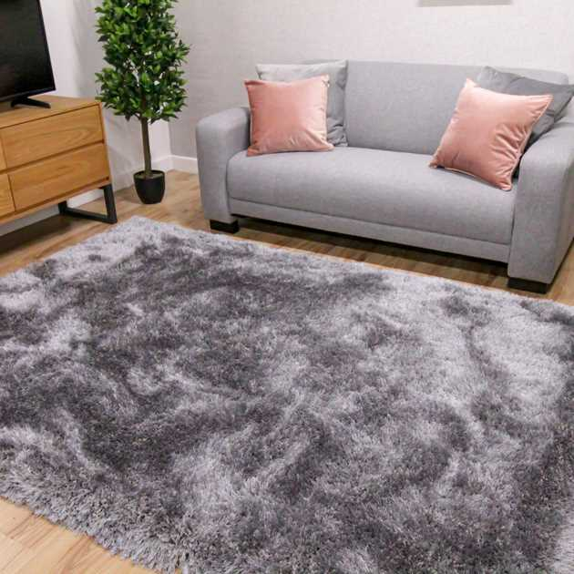 Mayfair Shaggy Rugs in Silver