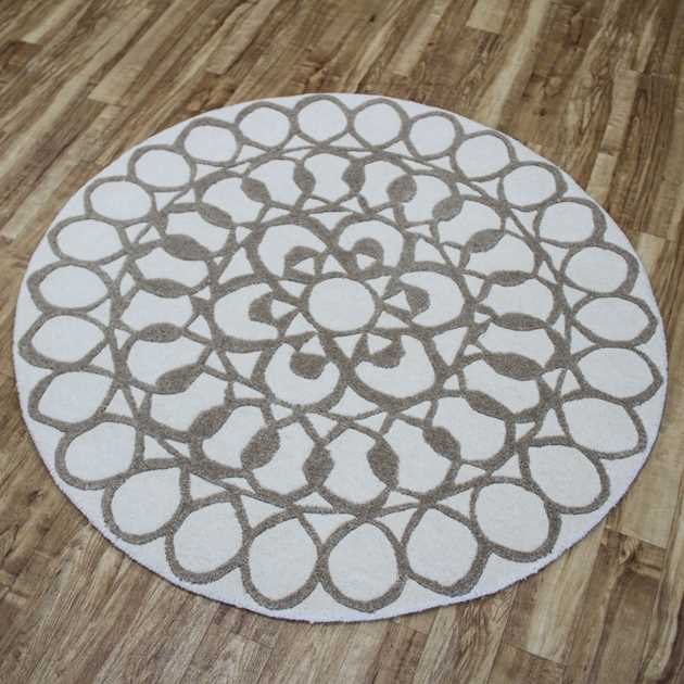 Maze Circular Rugs in Cream