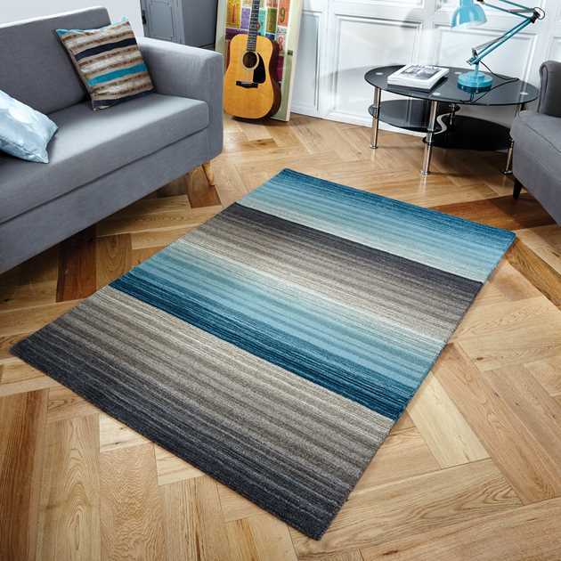 Miko Stripe Rugs in Blue