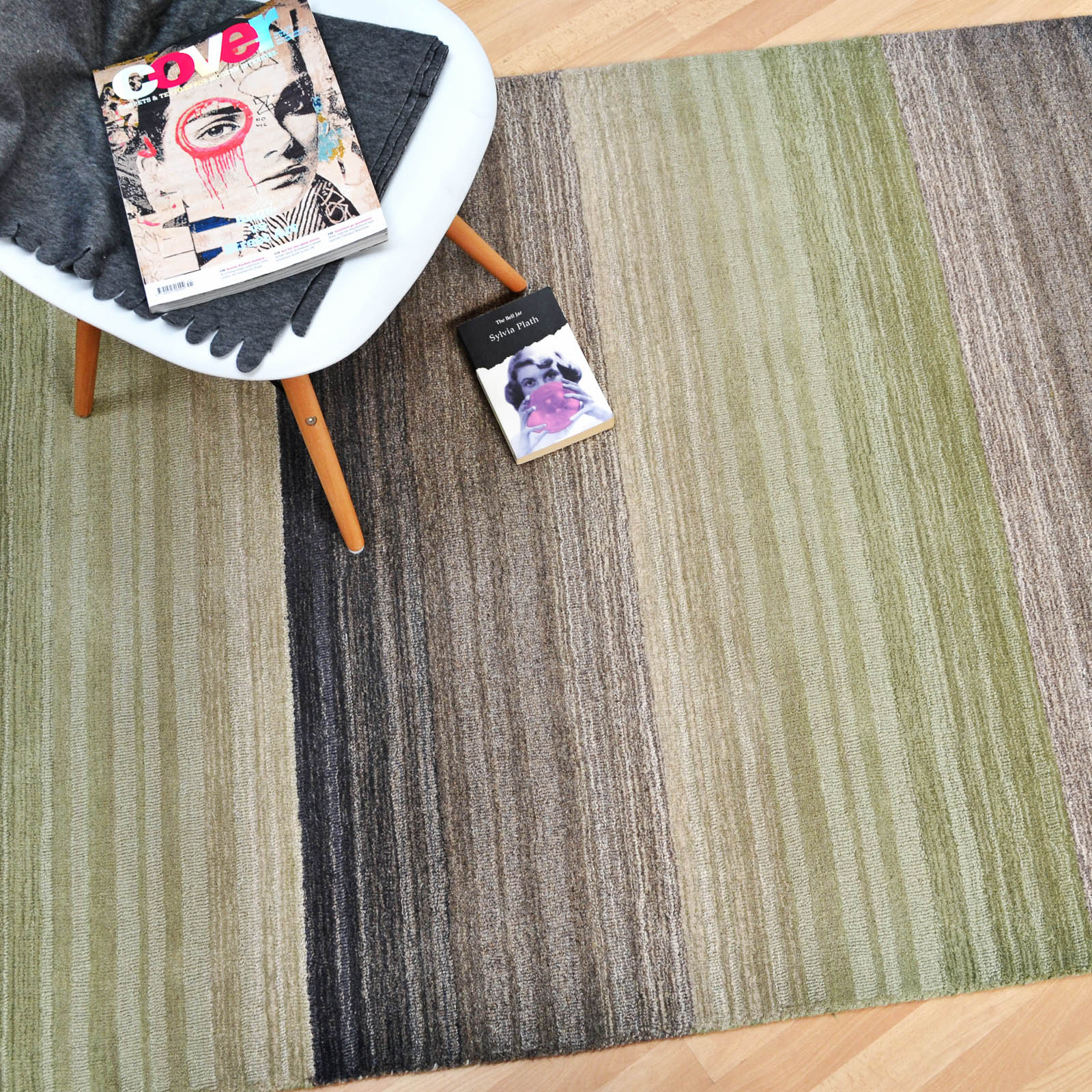 Miko Stripe Rugs in Green