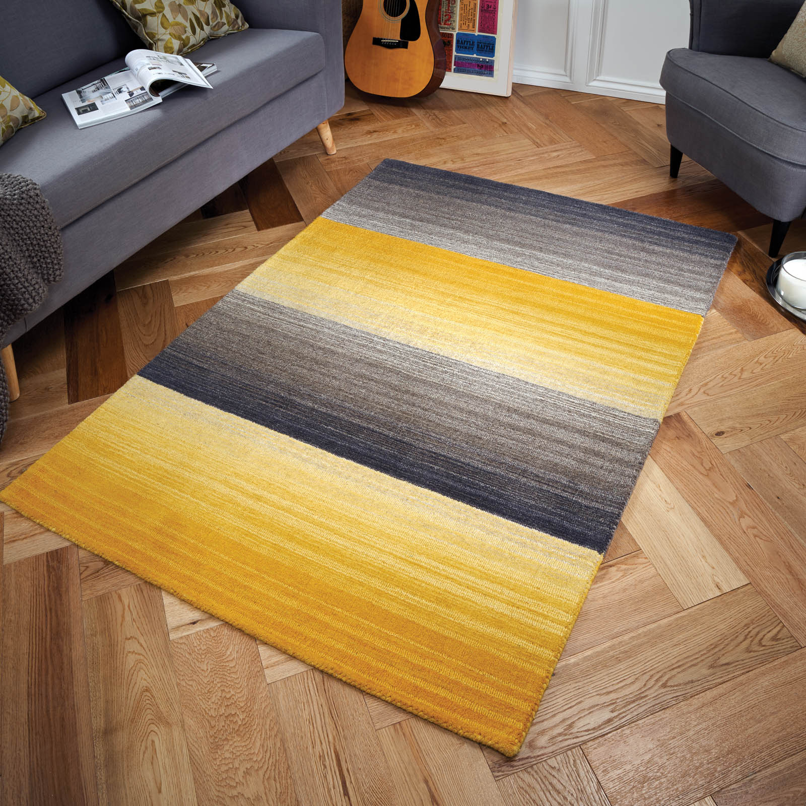 Miko Stripe Rugs in Ochre