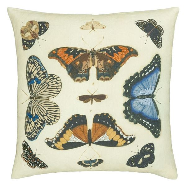 Mirrored Butterflies Cushion - Parchment