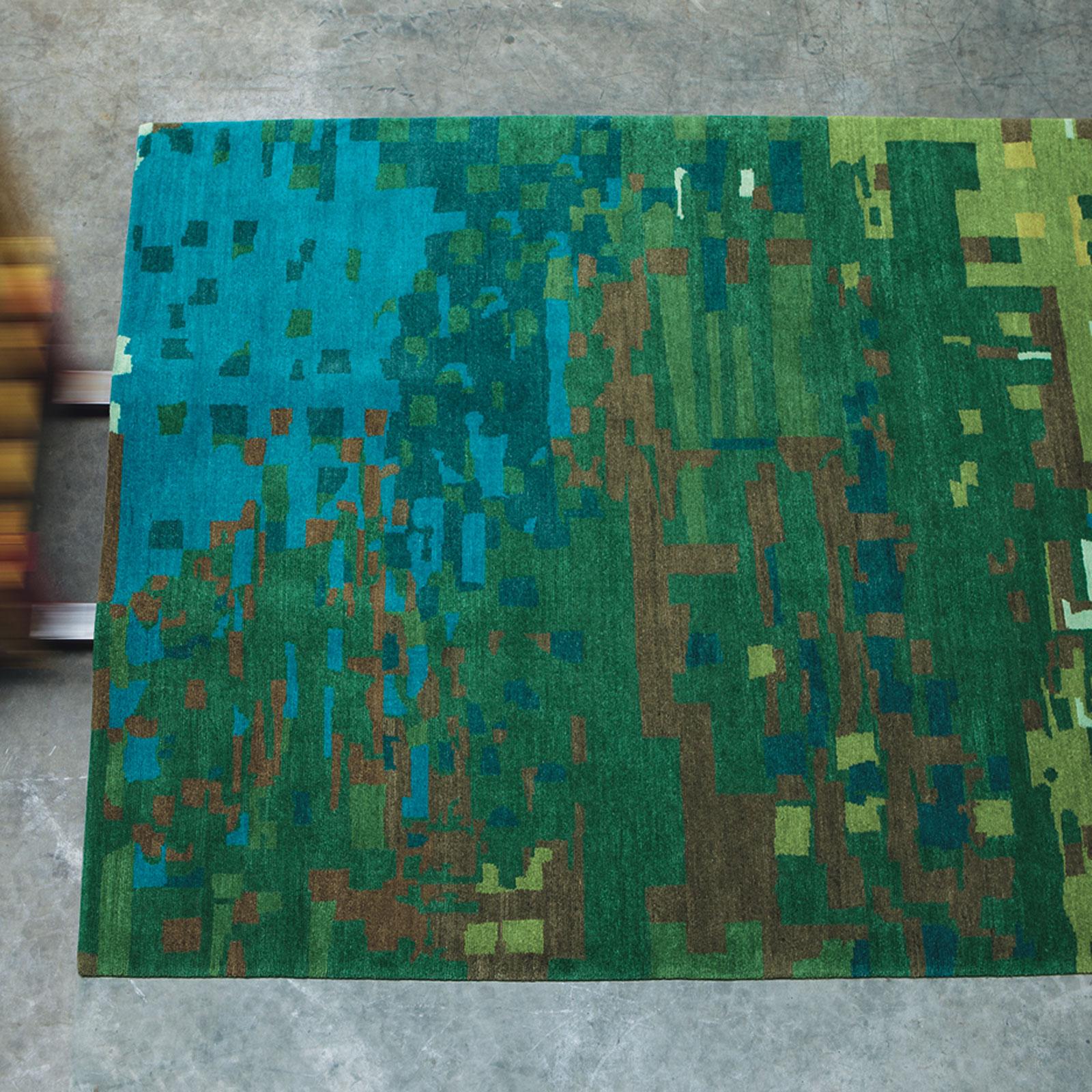 Kodari Mist Rugs 34207 Green Blue Hand Knotted Wool Rugs