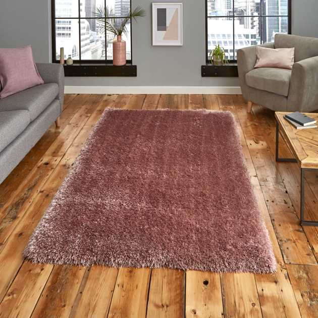 Montana Shaggy Rugs in Rose