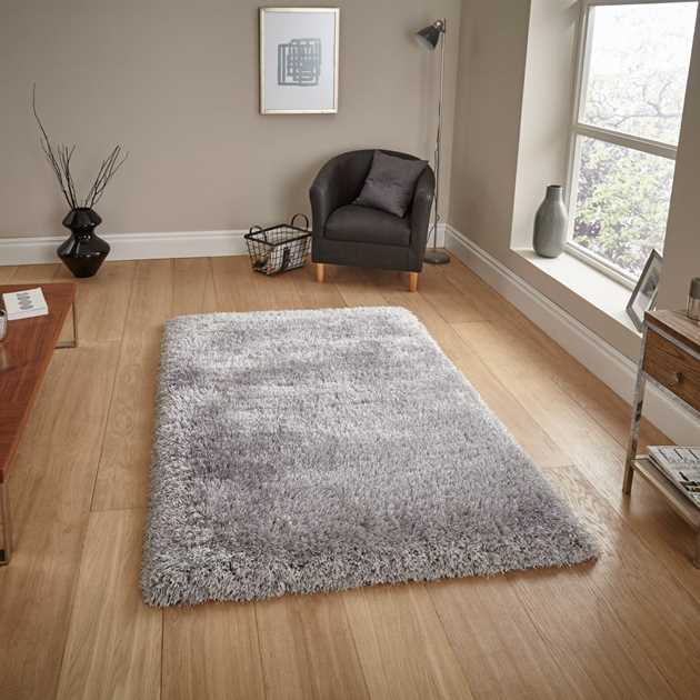 Montana Shaggy Rugs in Silver
