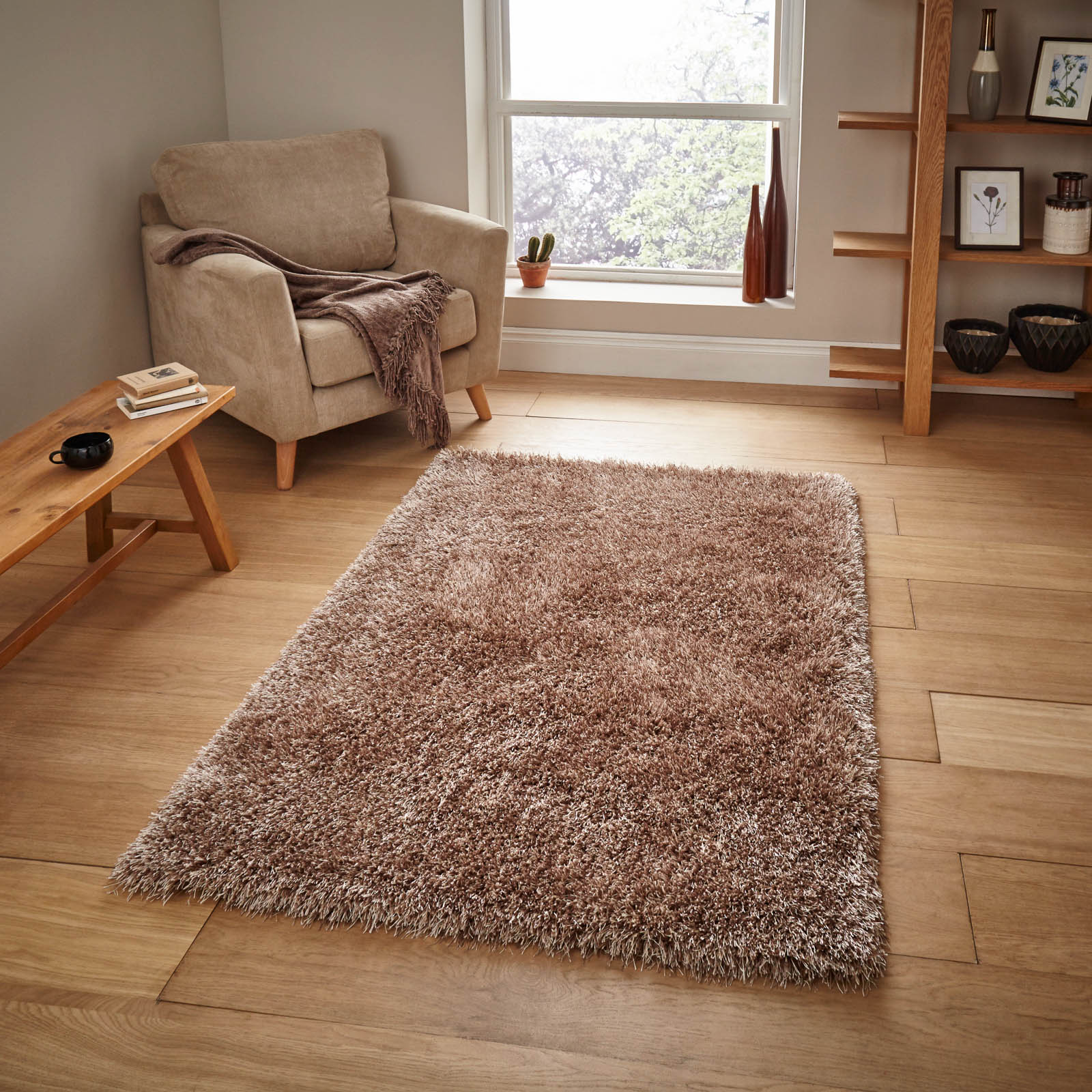 Monte Carlo Hand Made Shaggy Rugs in Beige