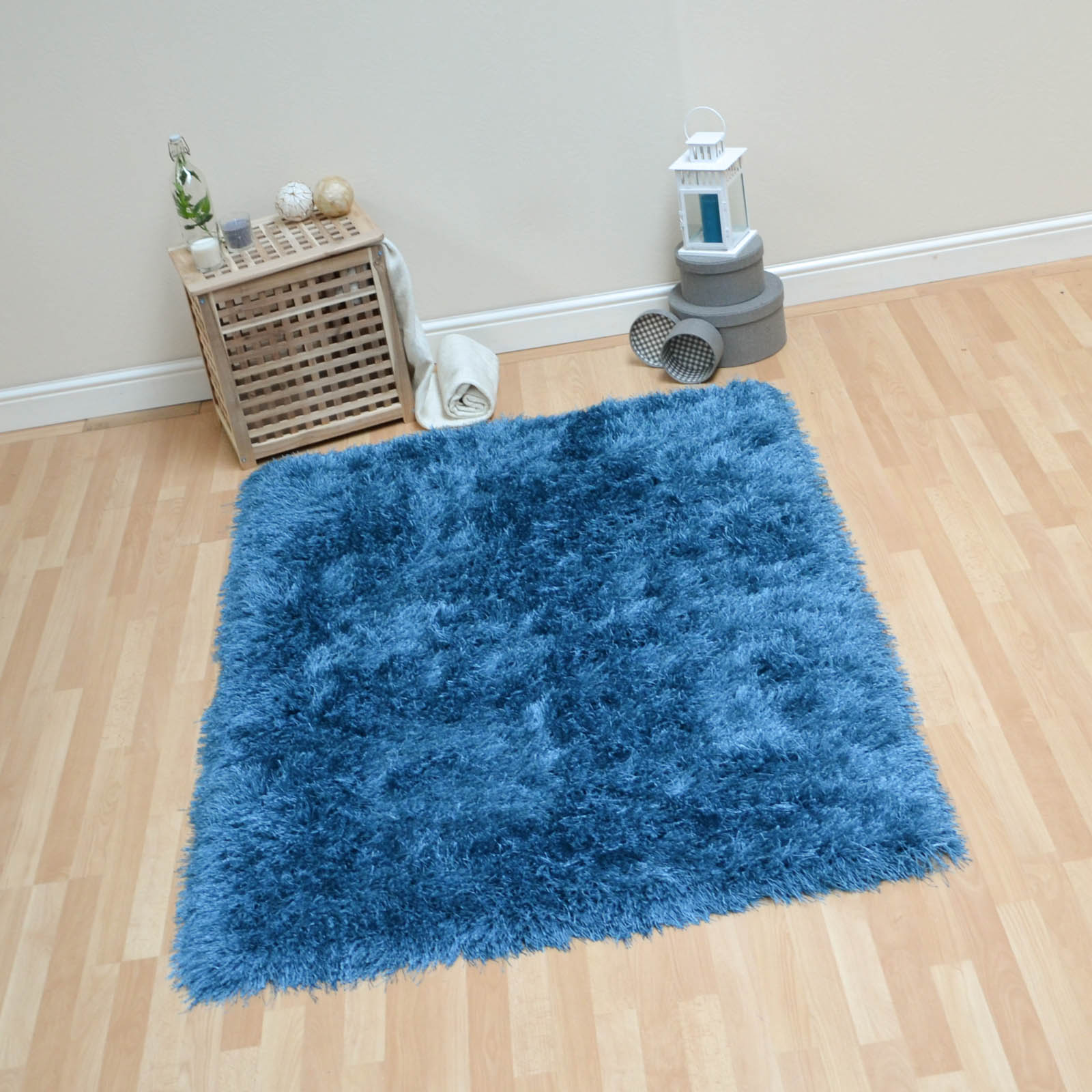 Monte Carlo Hand Made Shaggy Rugs in Blue
