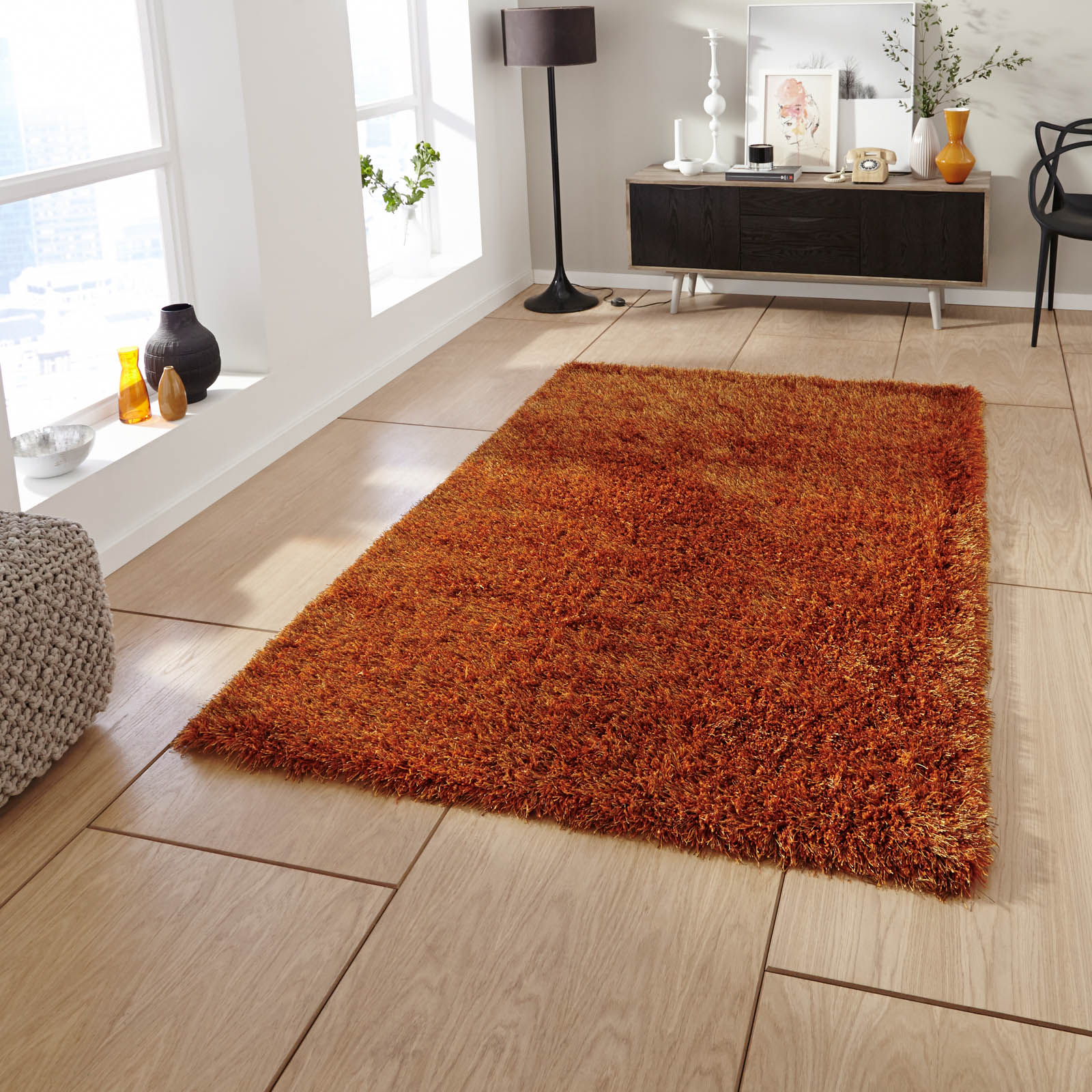 monte carlo hand made shaggy rugs in burnt orange