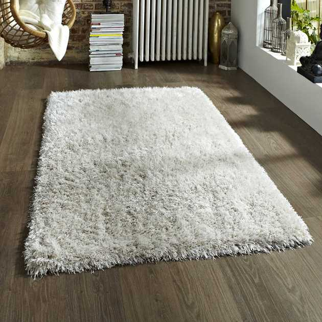 Monte Carlo Hand Made Shaggy Rugs in Cream