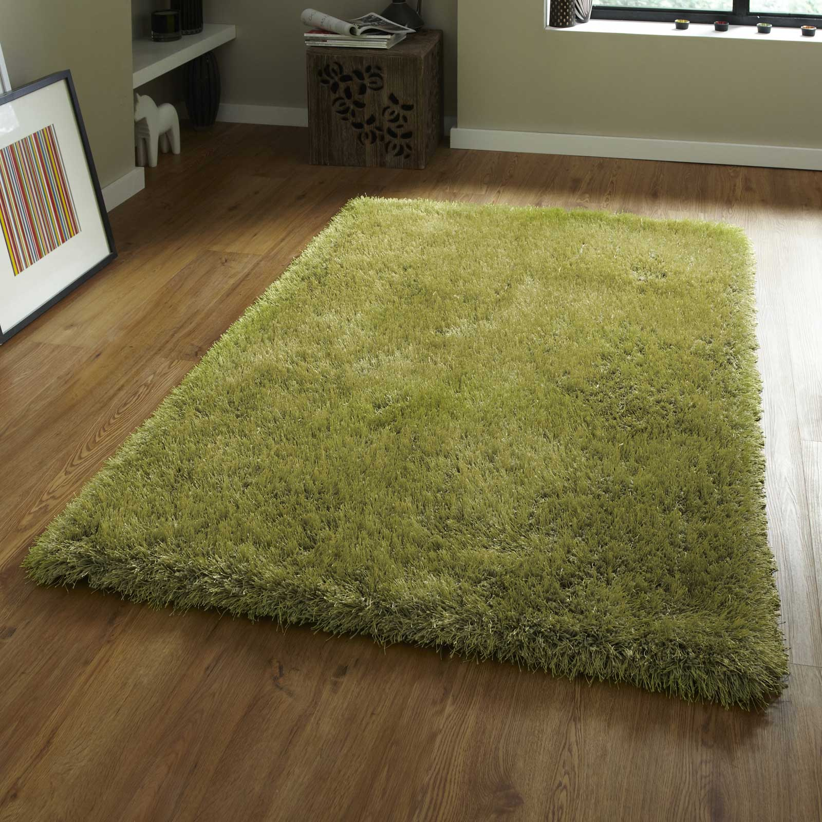 Monte Carlo Hand Made Shaggy Rugs in Green