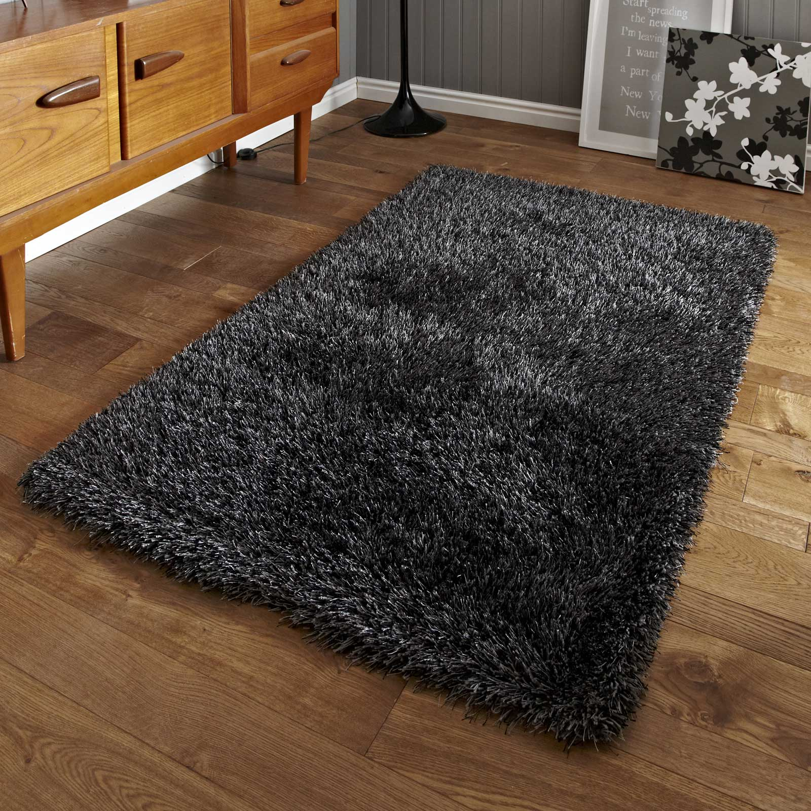 Monte Carlo Hand Made Shaggy Rugs in Grey