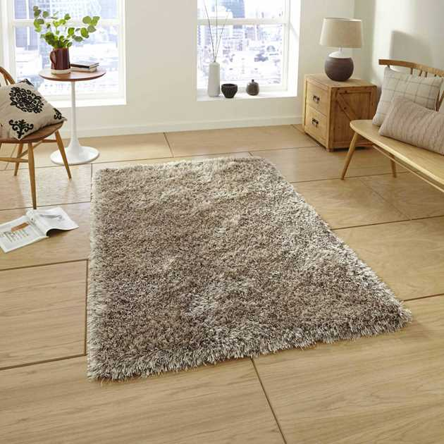 Monte Carlo Hand Made Shaggy Rugs in Mink