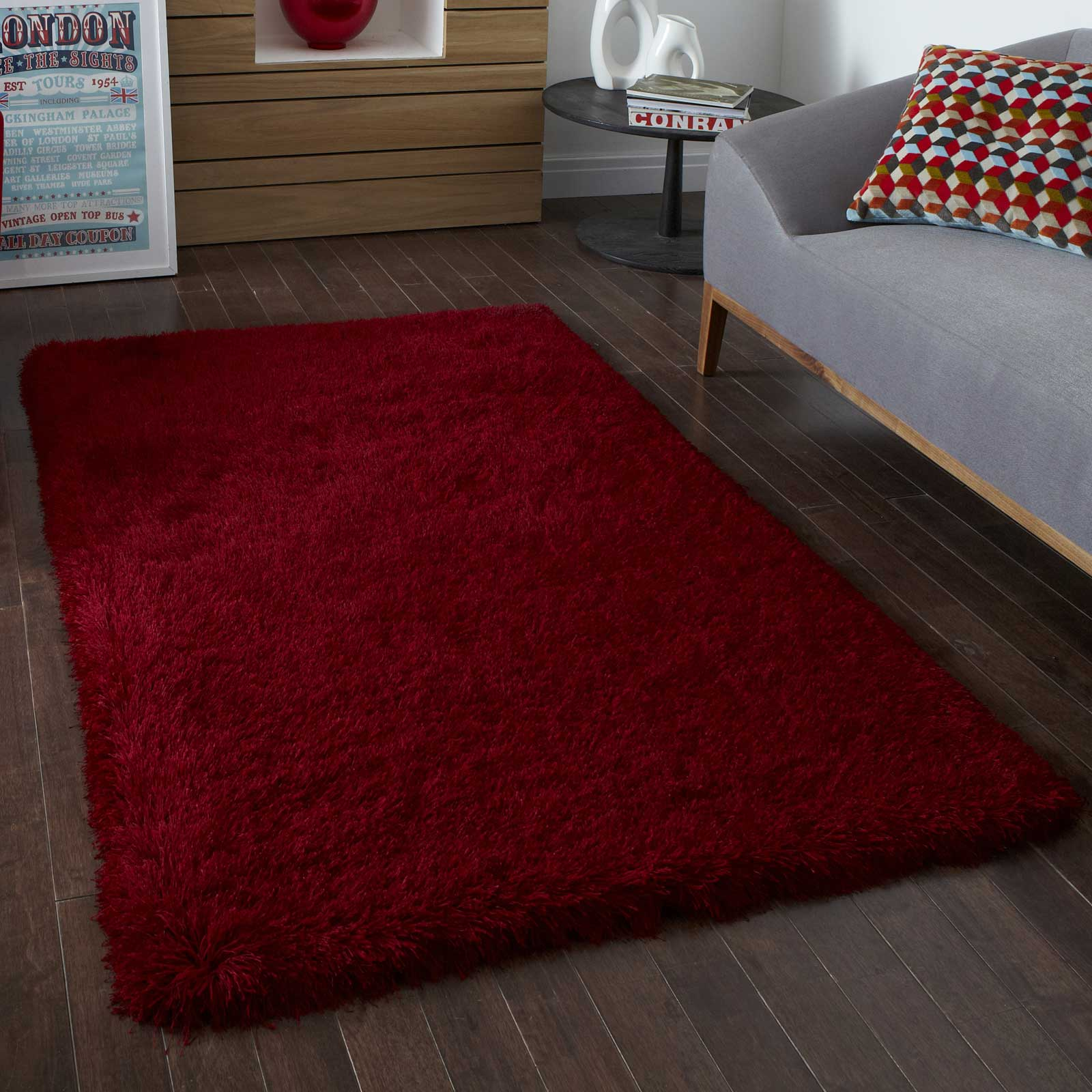 Monte Carlo Hand Made Shaggy Rugs in Red