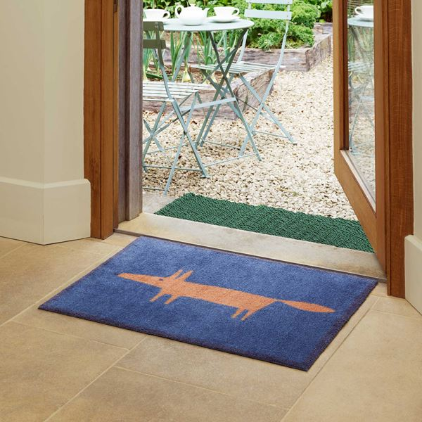 Mr Fox Doormat - Navy Blue