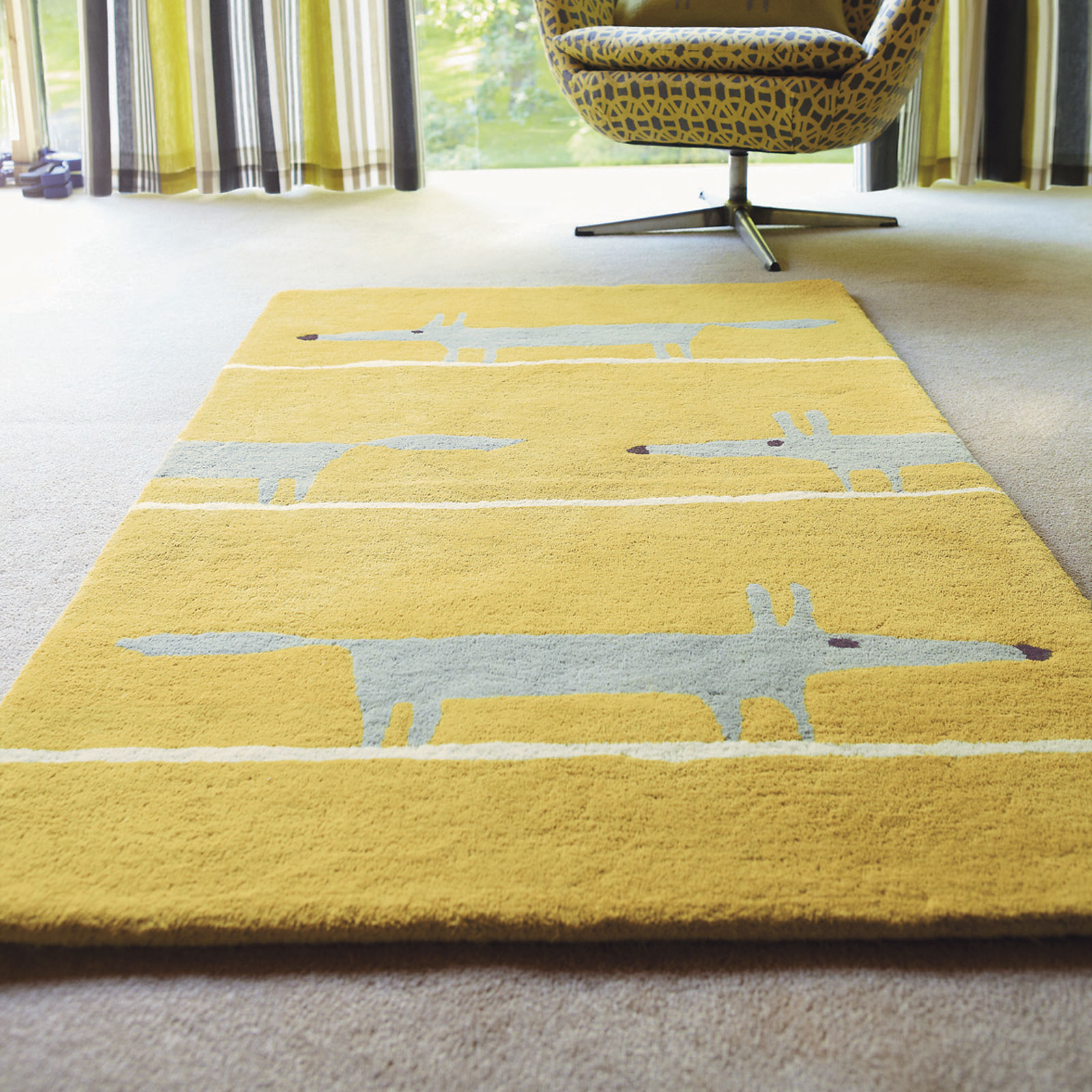 Scion Mr Fox Rugs 25306 Mustard Free Uk Delivery The