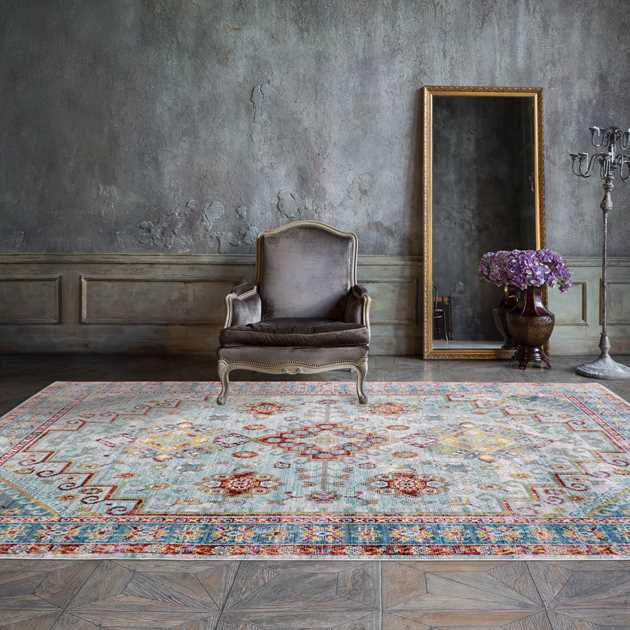 Aqua Silk Traditional Rugs N109a