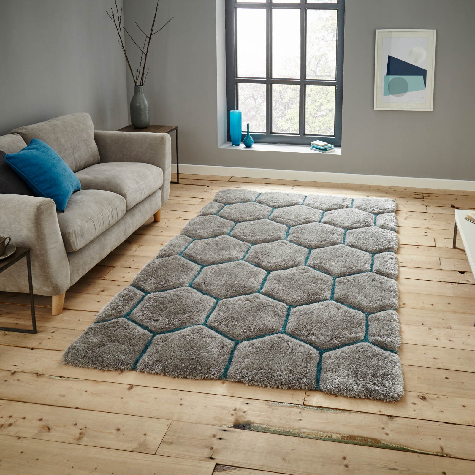 Noble House Rugs NH30782 in Grey Blue