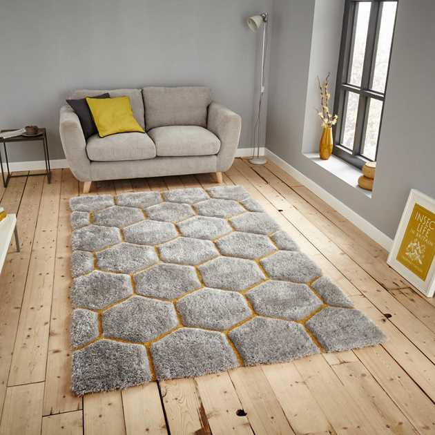 Noble House Rugs NH30782 in Grey Yellow - Free UK Delivery - The Rug ...