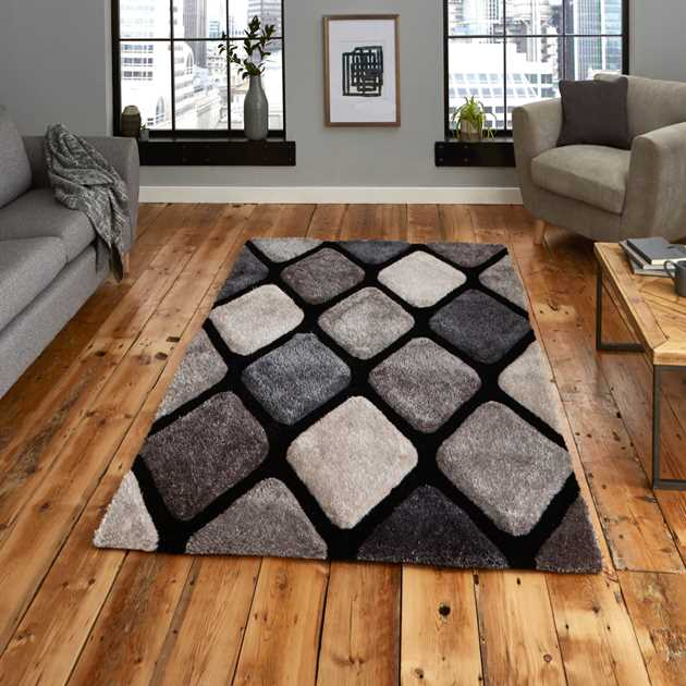 Noble House Rugs NH9247 Black Grey