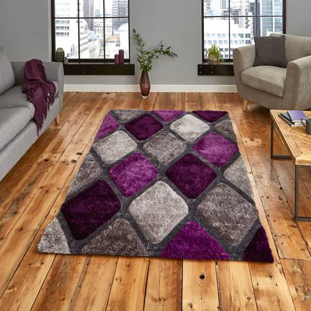 Noble House Rugs NH9247 Grey Purple
