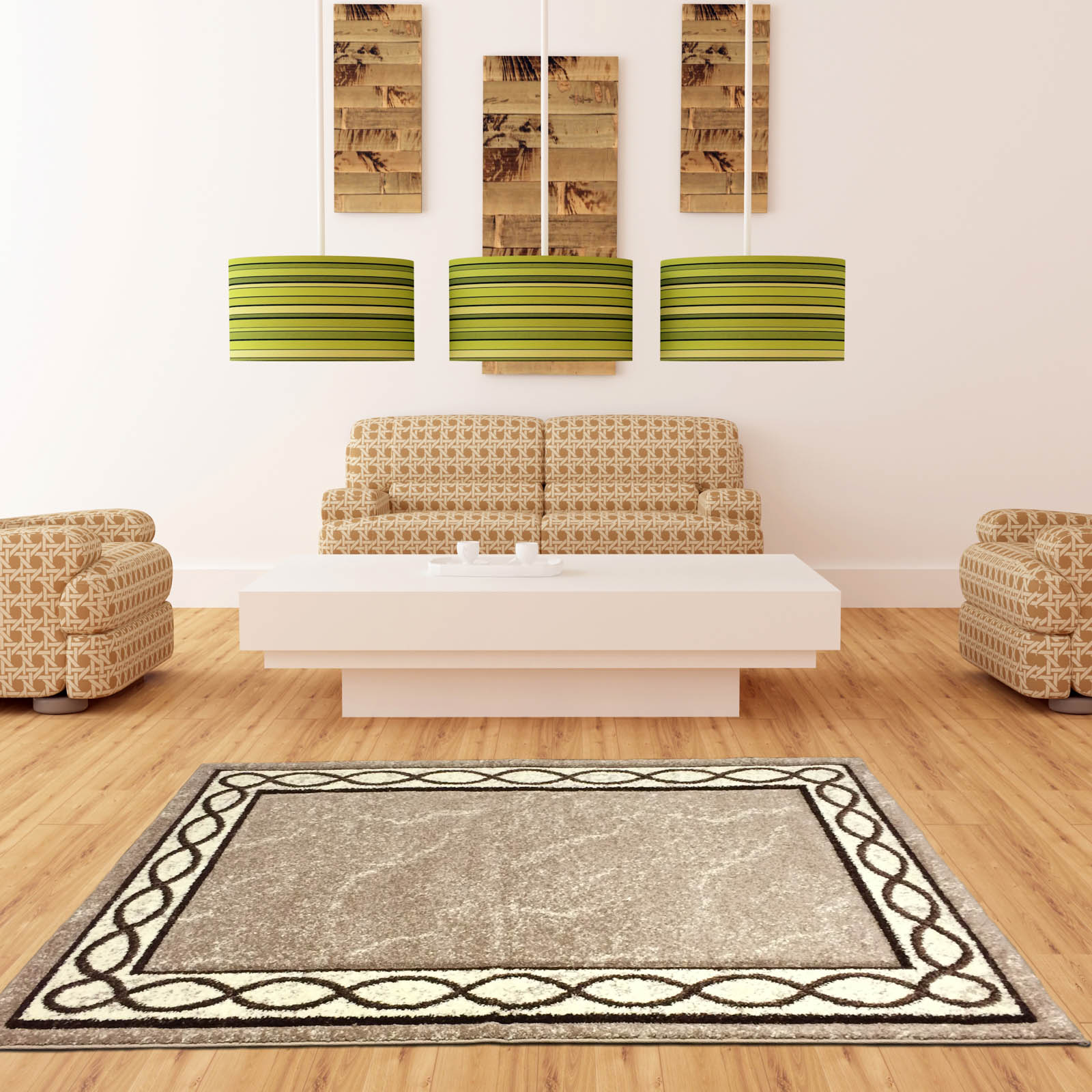 Naples Loop Border Rugs in Beige