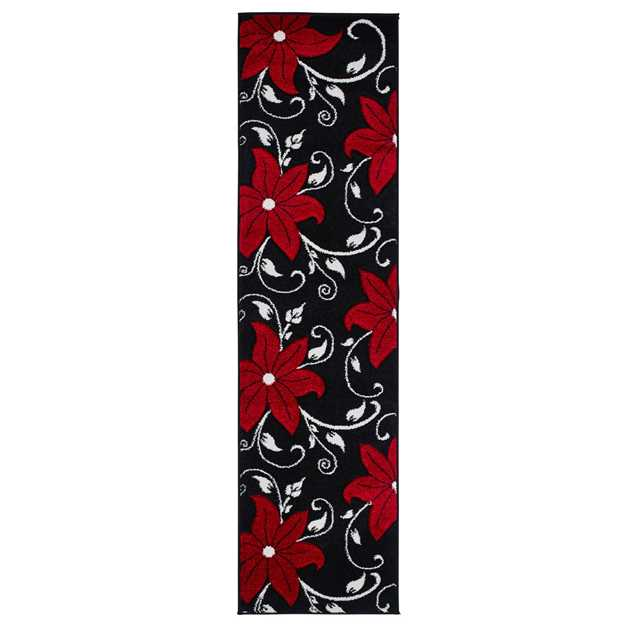 Verona OC15 Hand Carved Hallway Runners in Black Red