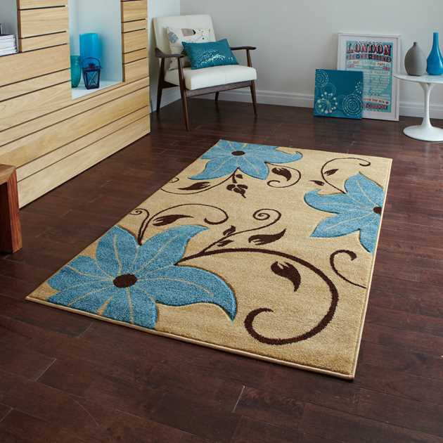 Verona OC15 Hand Carved Rugs in Beige Blue