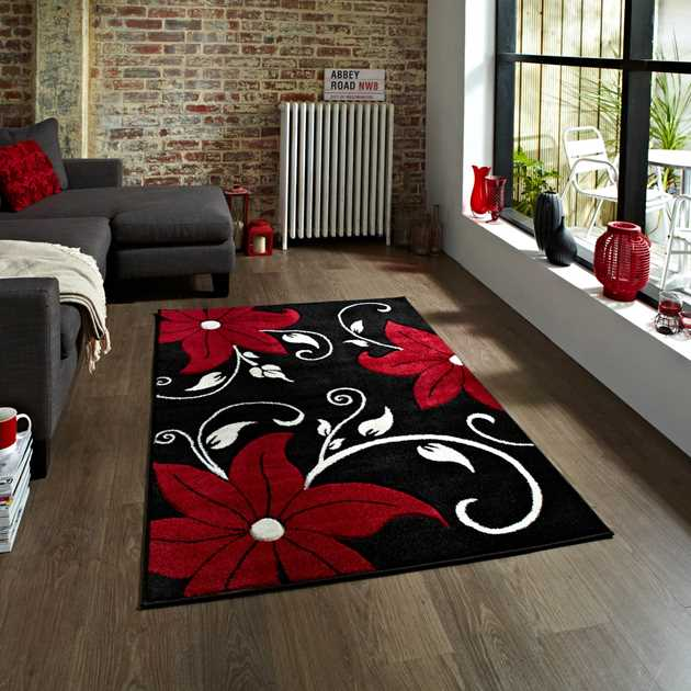 Verona OC15 Hand Carved Rugs in Black Red