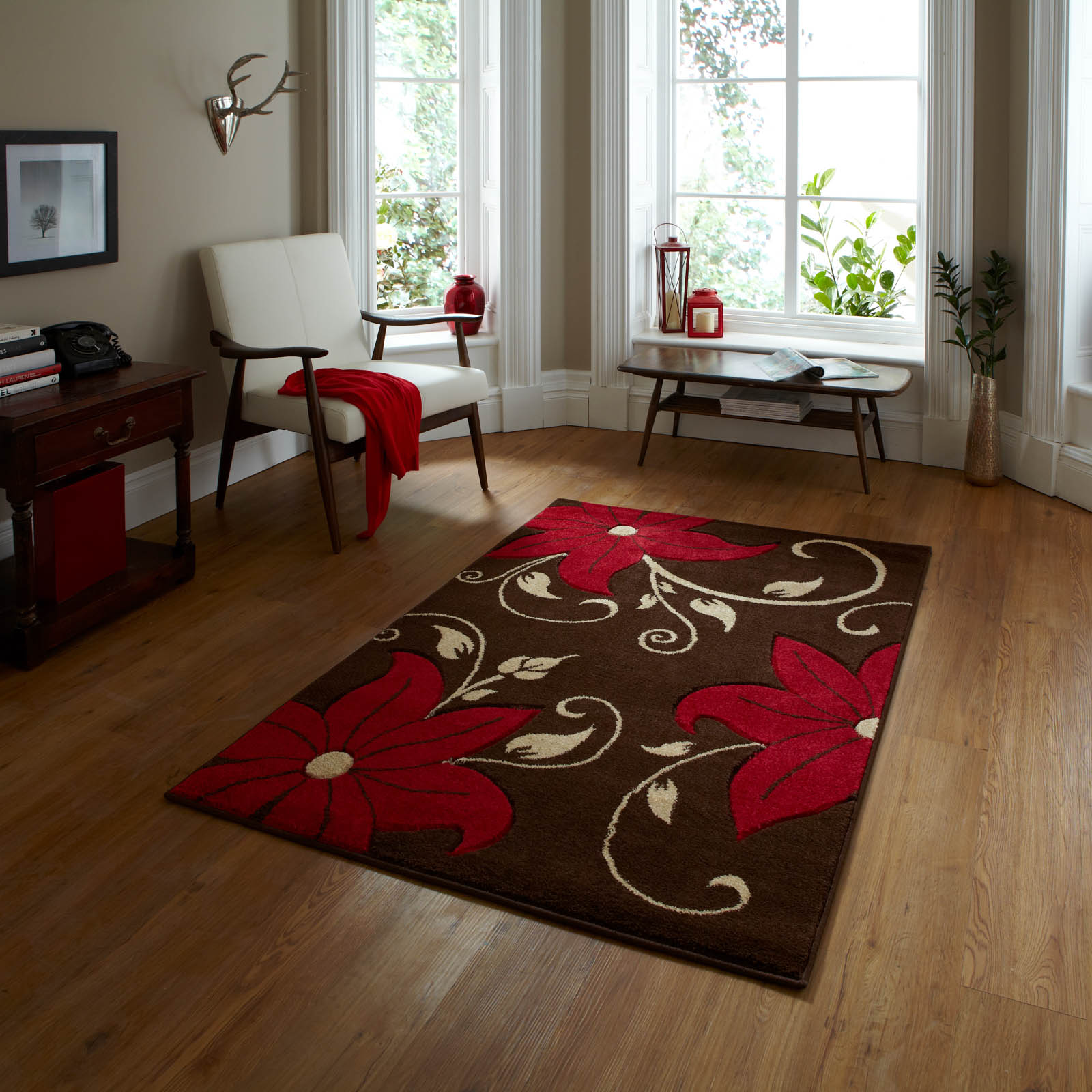 Verona OC15 Hand Carved Rugs in Brown Red