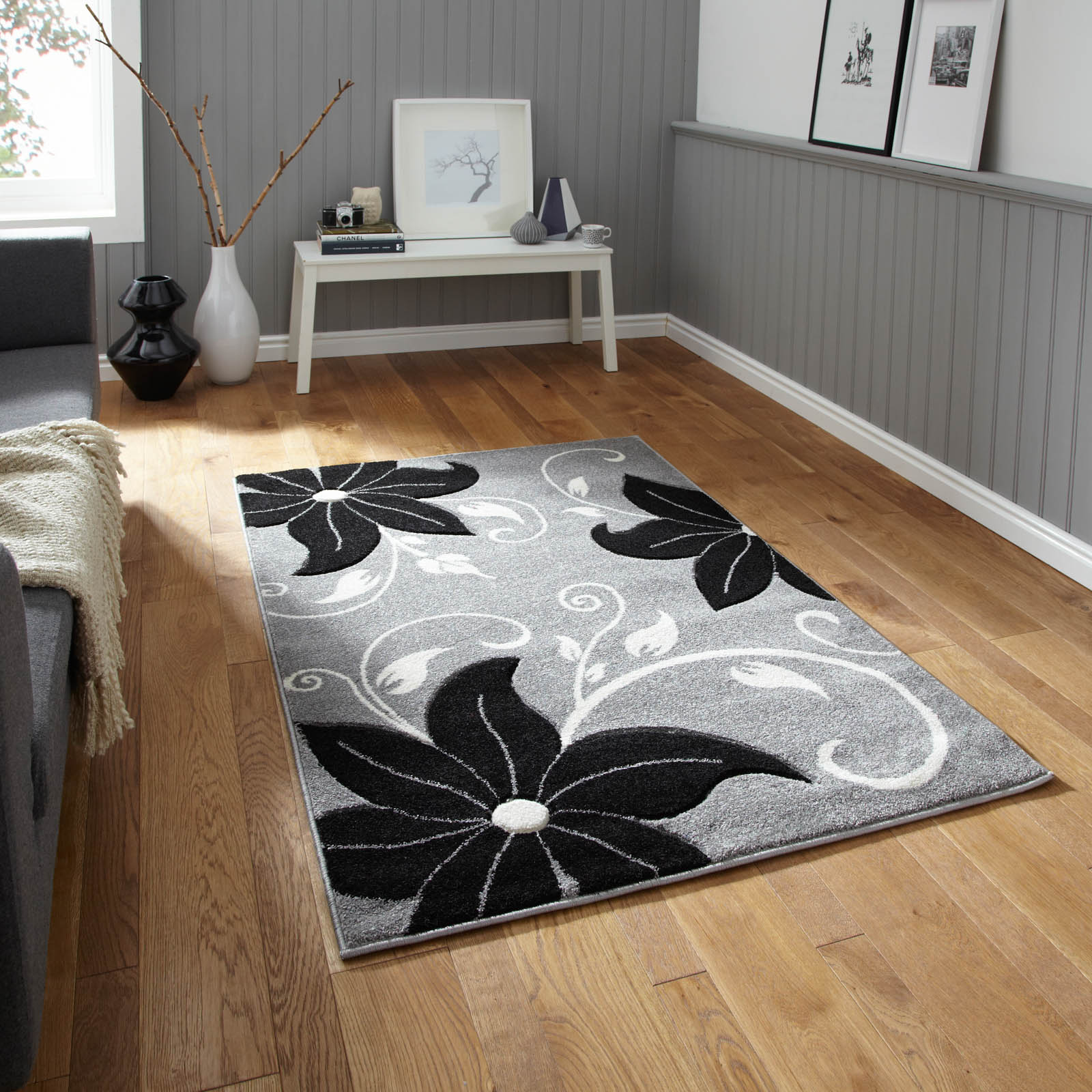 Verona OC15 Hand Carved Rugs in Grey Black