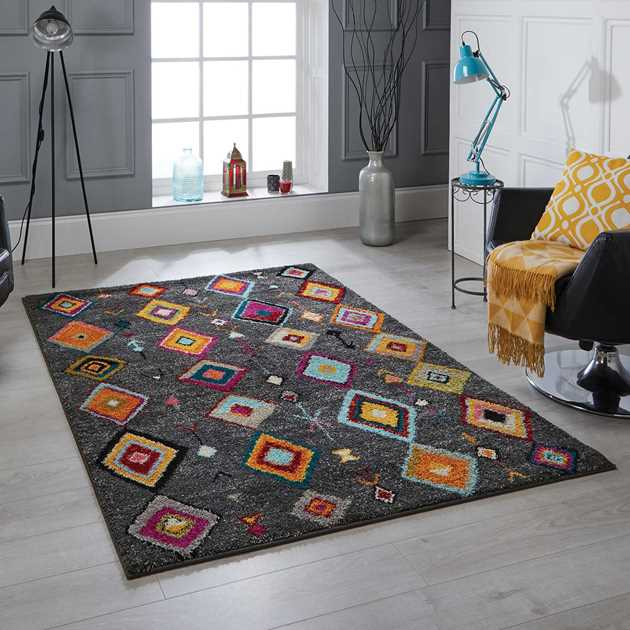 Atlas Rugs 1330 Y in Charcoal and Multicolours