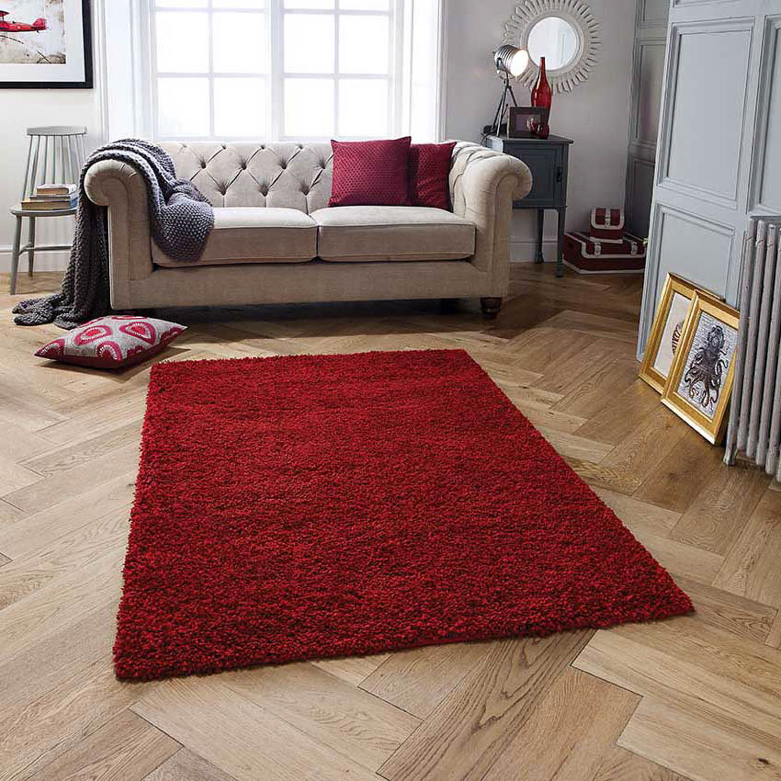 Harmony Shaggy Rugs in Red