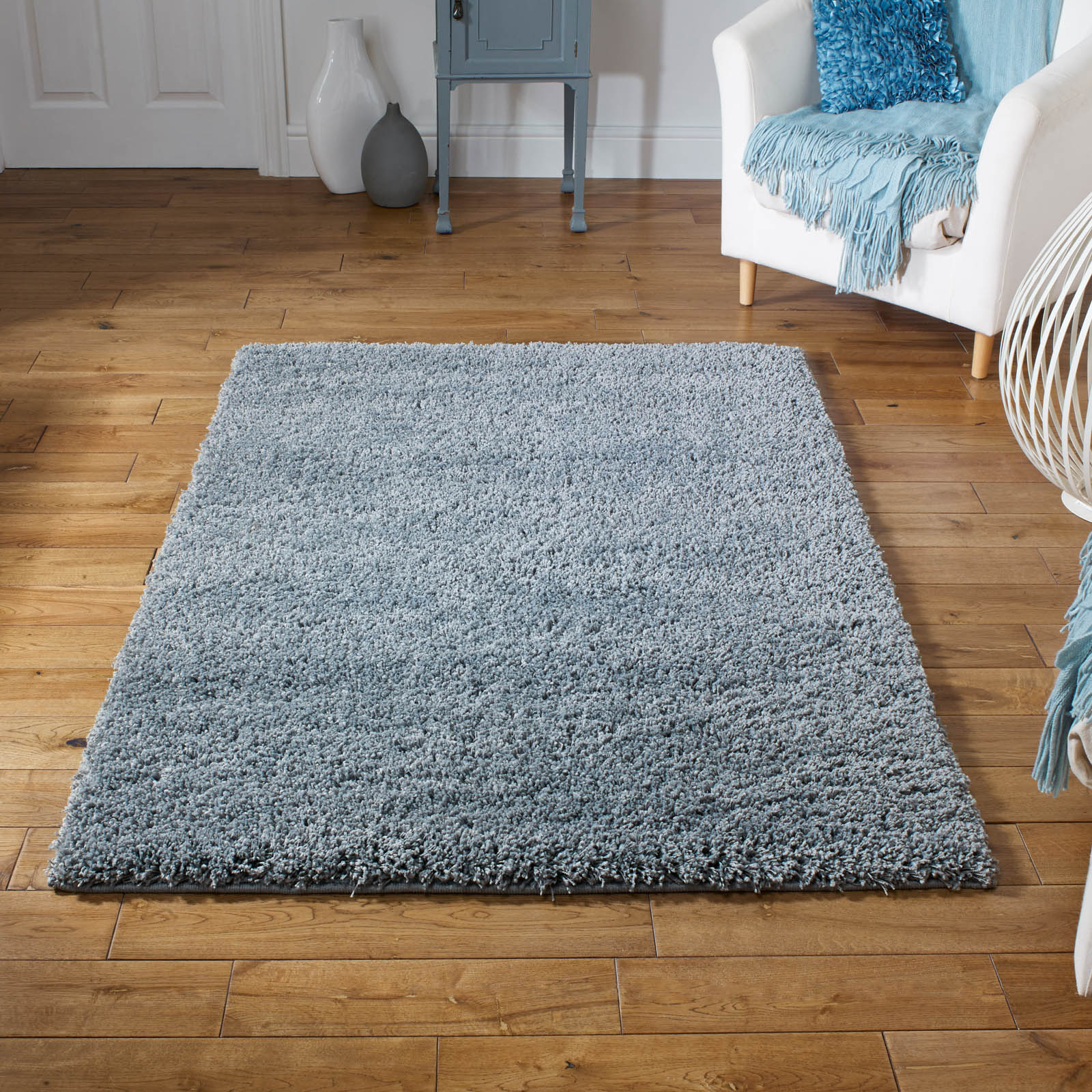 Harmony Shaggy Rugs in Silver Grey
