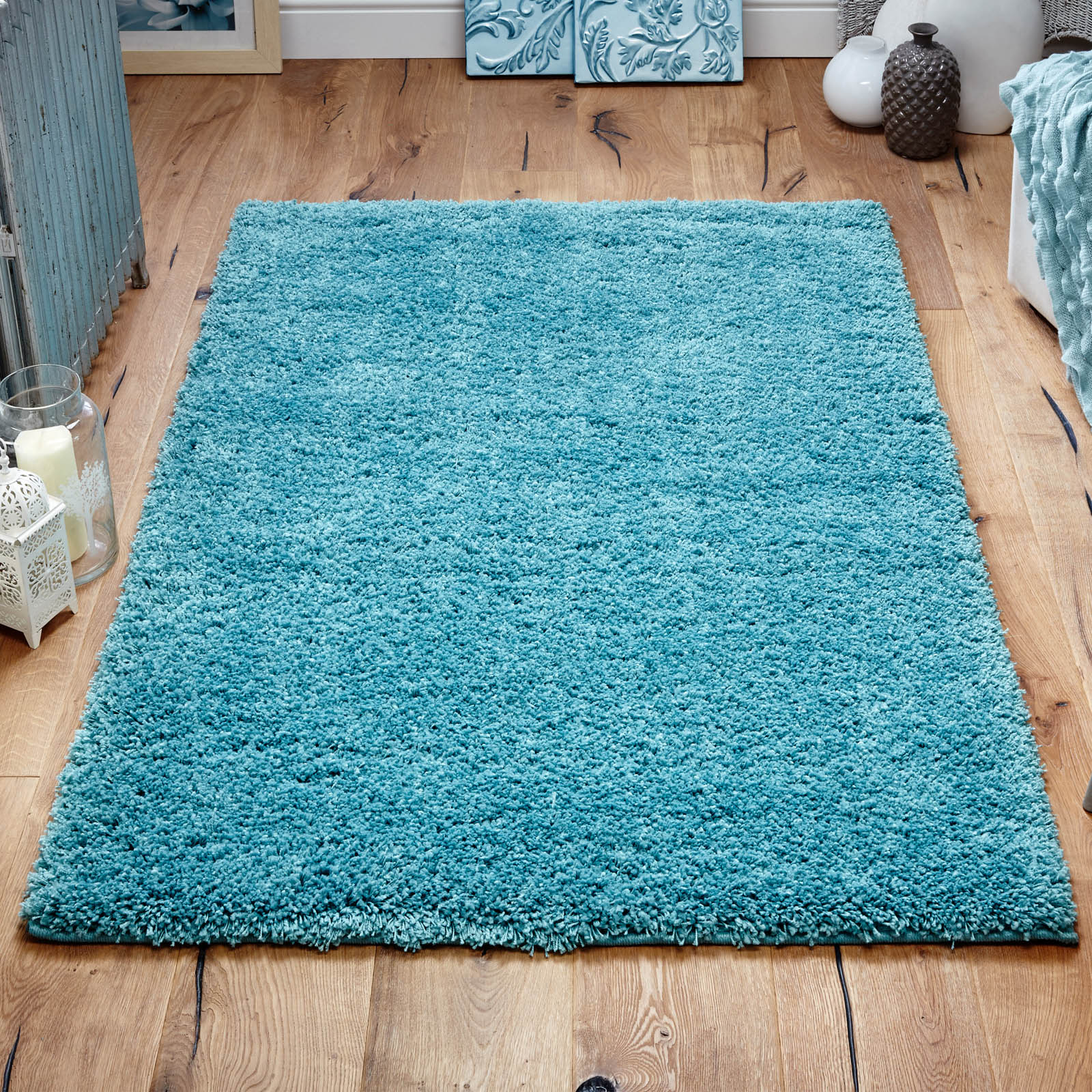 Harmony Shaggy Rugs in Teal
