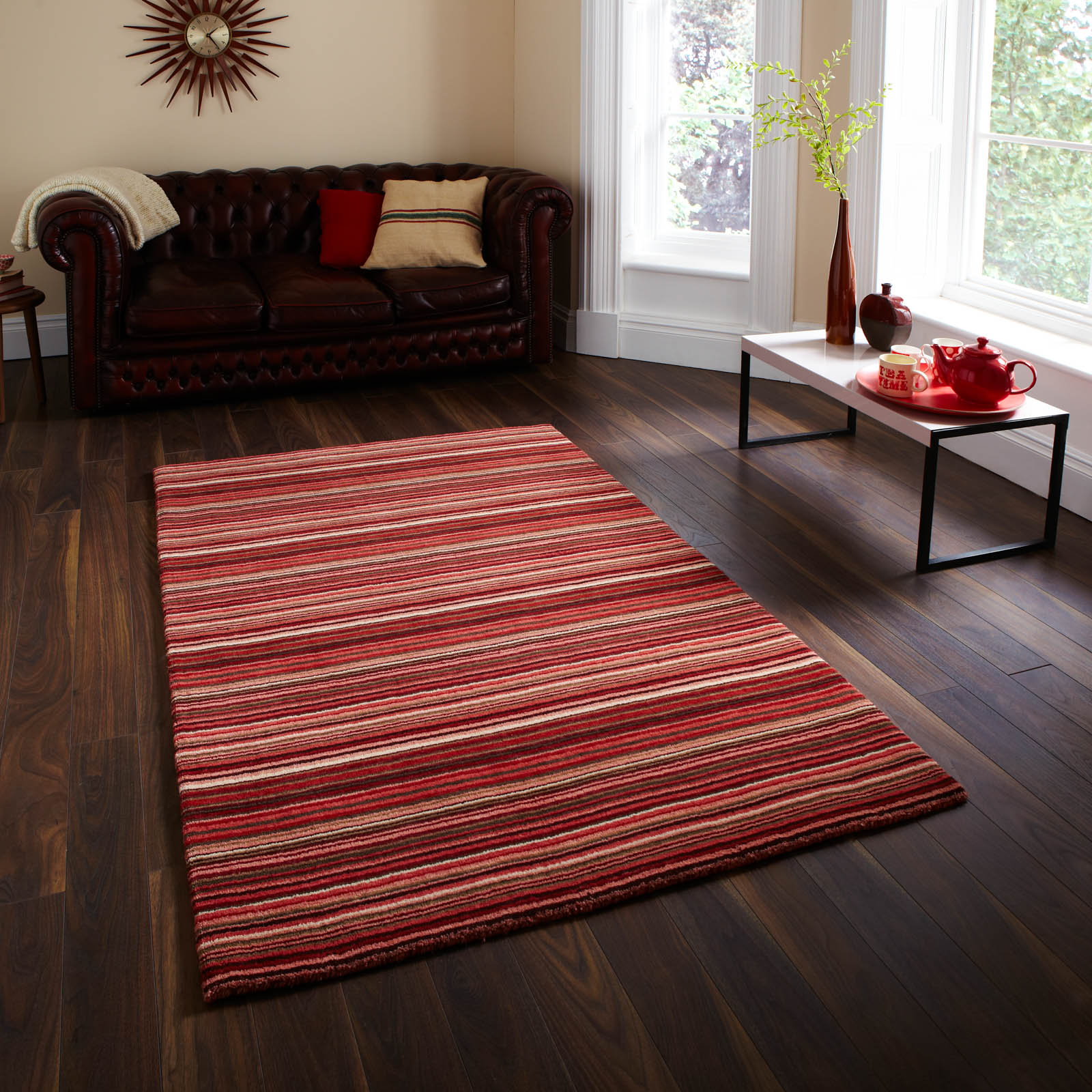 Oxford Rugs OX 10 Stripes in Red Beige