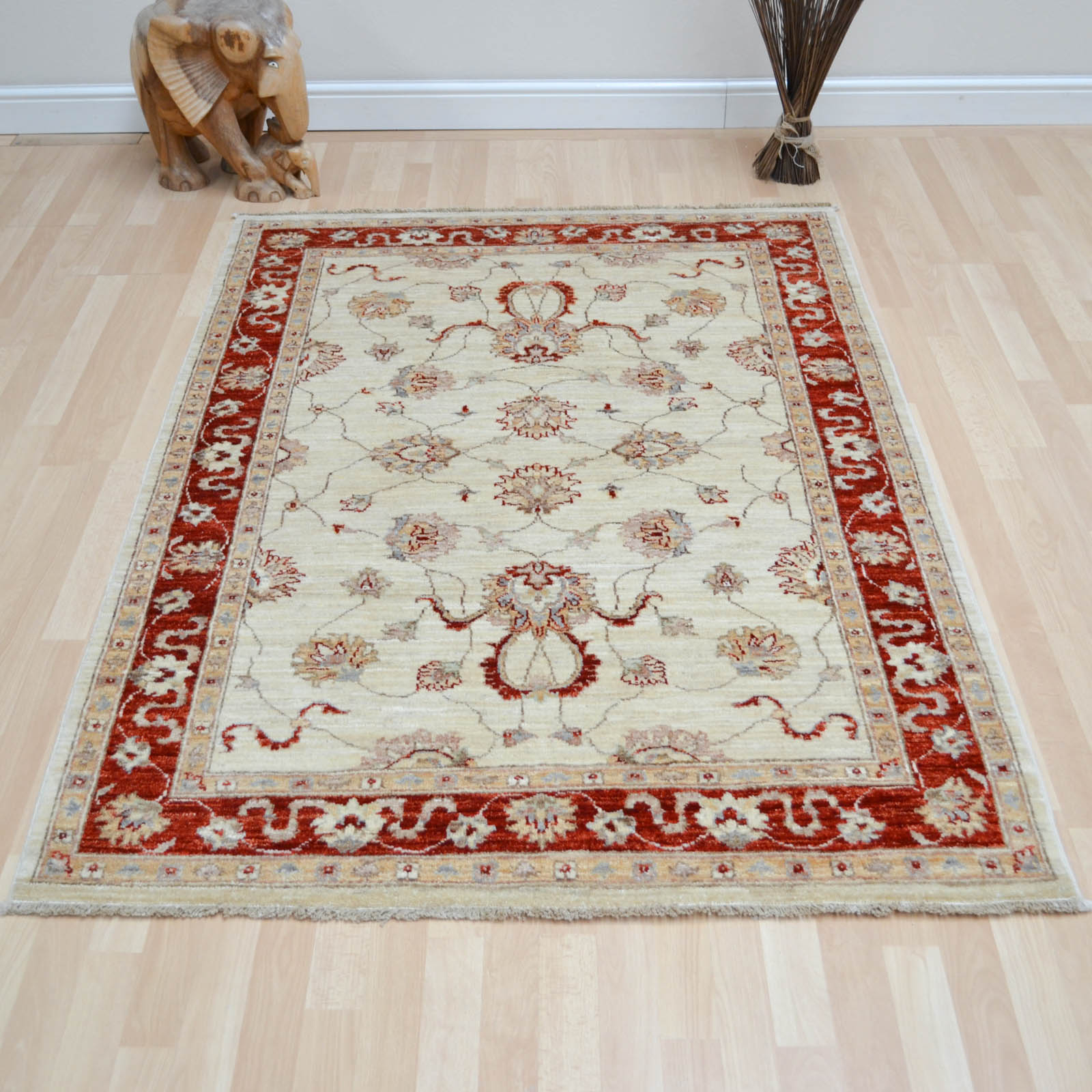 Hand Knotted Ziegler Wool Rugs in Cream Red