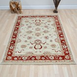 Afghan Ziegler - Cream Red