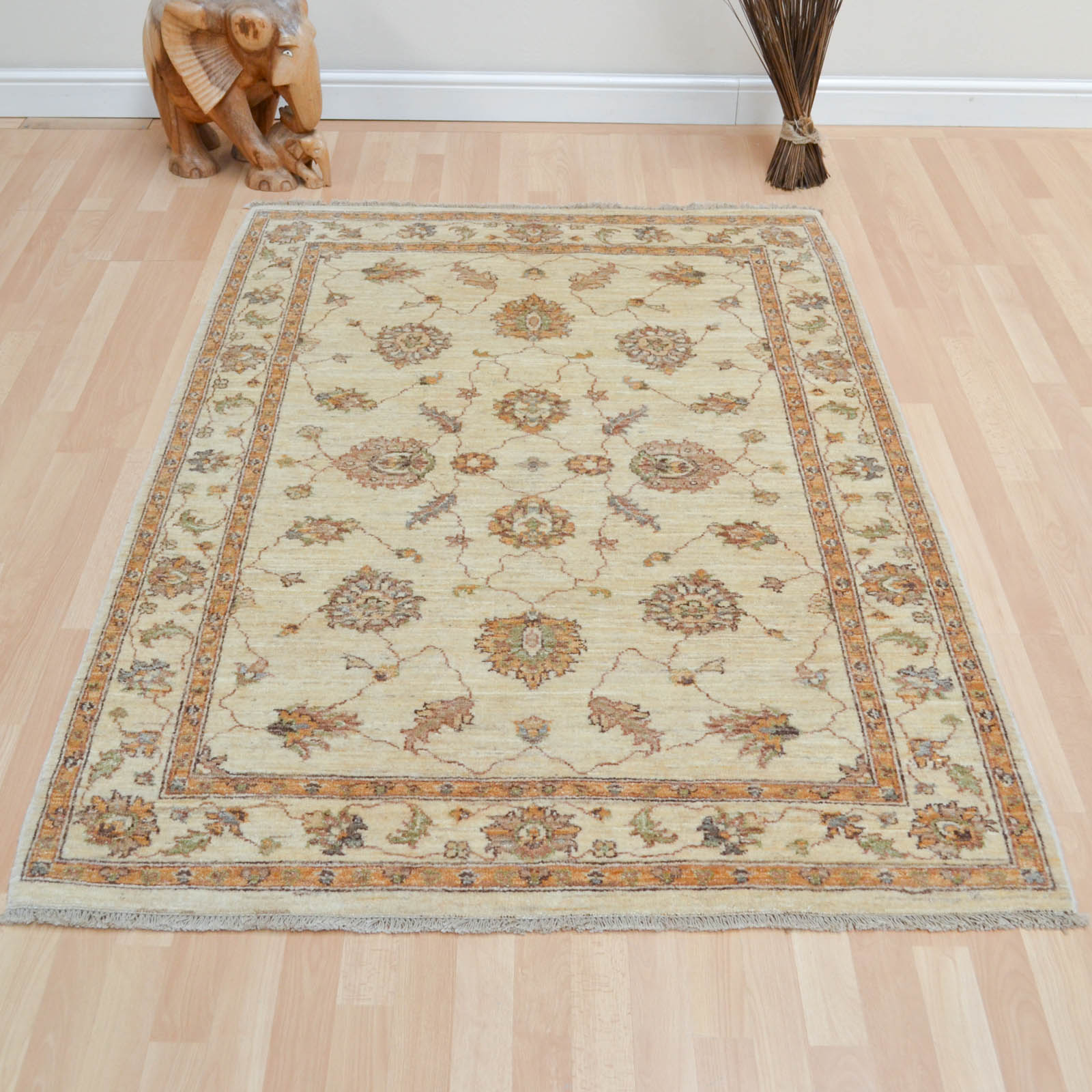 Hand Knotted Ziegler Wool Rugs in Cream