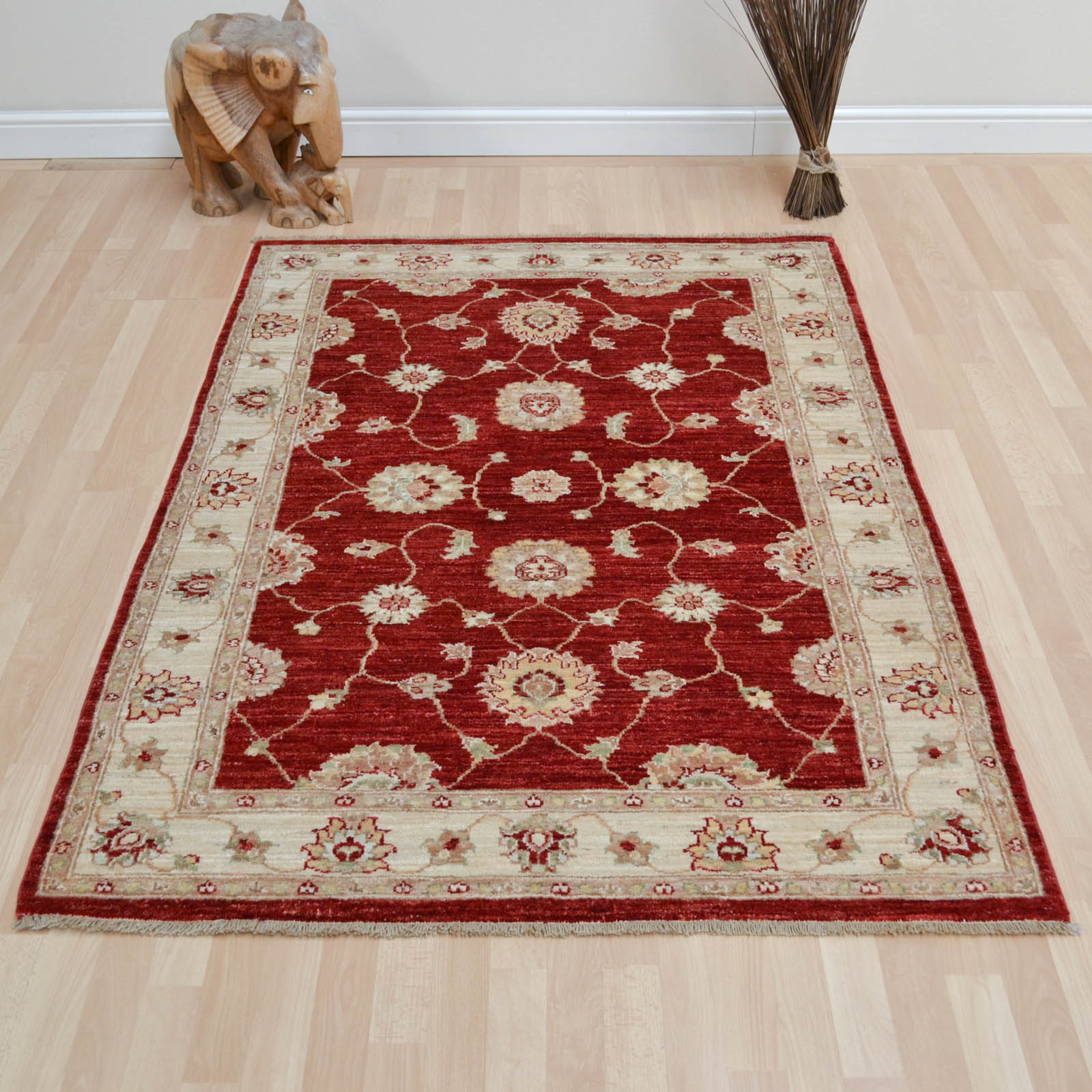 Hand Knotted Ziegler Wool Rugs in Red Cream