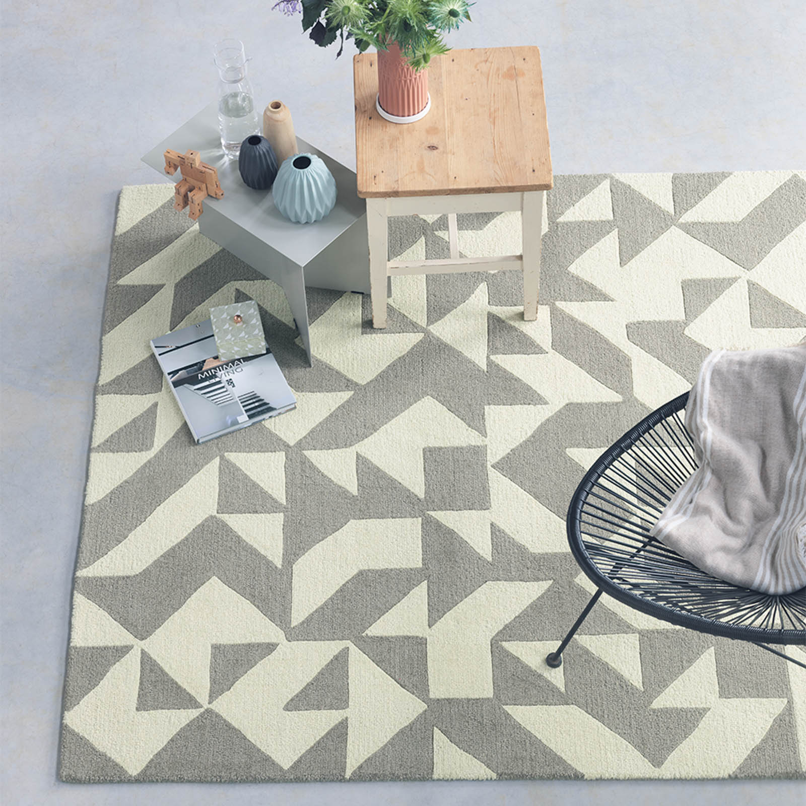 Nova Origami Rugs 89001 in Taupe and Cream by Brink and Campman