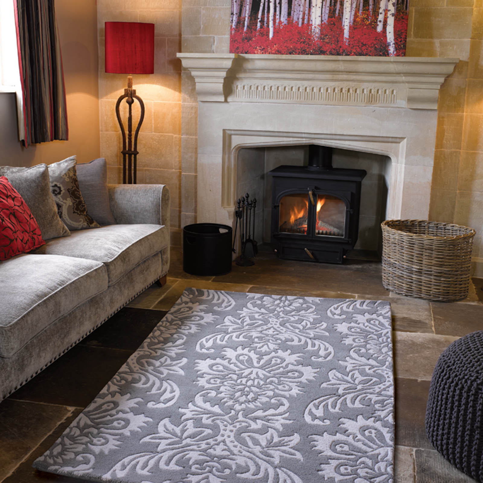 Decotex Ornate Rugs in Grey
