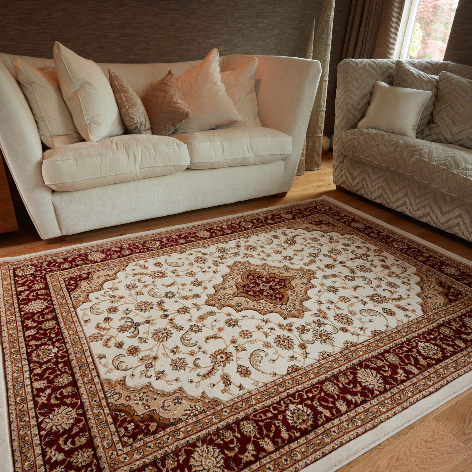 Ottoman Temple Rugs in Cream and Red